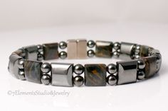 Blue Tiger Eye and Magnetic Hematite Bracelet, Magnetic Therapy Bracelet for Men and Women