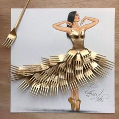 Armenian fashion illustrator Edgar Artis uses stylized paper cut outs and everyday objects to create beautiful dresses. His creative fashion sketches include such items as rose petals, various plants and food, even buildings. Fashion Design Drawings, Fashion Sketches, Arte Fashion, 3d Fashion, Fashion Beauty, Paper Fashion, Fashion Videos, Trendy Fashion, Style Fashion