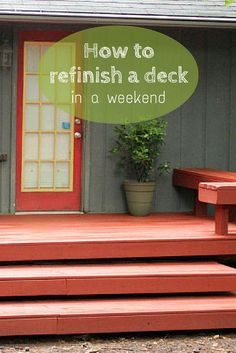 How to Refinish a Deck in a Single Weekend >> http://www.hgtvgardens.com/diy-garden-projects/refinish-your-deck-in-a-weekend?soc=pinterest