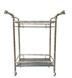 Vintage Hollywood Regency Brass Faux Bamboo 2-Tier Bar Cart Server Tea Cart by HouseofVintageLovely on Etsy