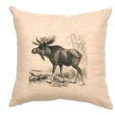 Moose Scene Linen Throw Pillow