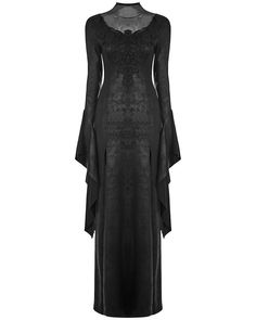 Punk Rave Gothic Witch Maxi Dress Long Black Cracked Embroidered Occult Vampire   Clothes, Shoes & Accessories, Women's Clothing, Dresses   eBay!