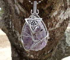 Tree of Life Pendant covering Beautiful Amethyst with Double Triquetra by TheSleepyFirefly