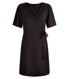 Black Wrap Front Tie Side Dress   | New Look