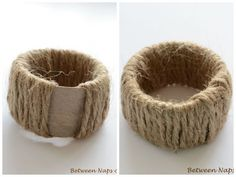 22 Napkin Rings pattern by Debbie Bliss Rope Crafts, Diy And Crafts, Craft Gifts, Diy Gifts, Rustic Napkins, Sewing Room Storage, Home And Deco, Decoration Table, Diy Art