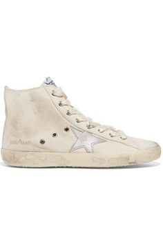 Golden Goose Deluxe Brand - Francy Distressed Leather-paneled Canvas High-top Sneakers - Neutral - IT