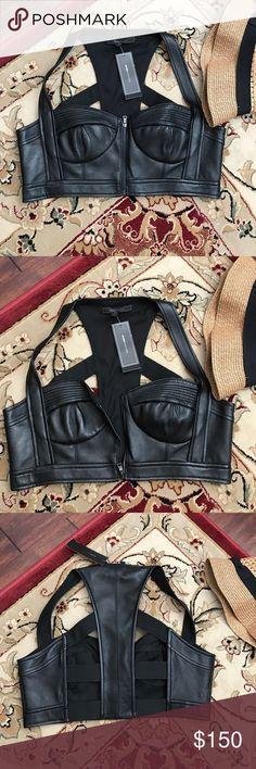 BCBGMAXAZRIA mante leather bra top size L new! BCBGMAXAZRIA mante leather bra top size L new! Made of All lamb leather, lined BCBGMaxAzria Tops