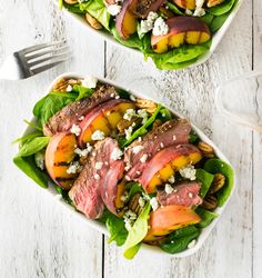 Grilled steak and peach salad with pecans blue cheese and red wine vinaigrette