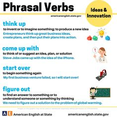 Some phrasal verbs -         Repinned by Chesapeake College Adult Ed. We offer free classes on the Eastern Shore of MD to help you earn your GED - H.S. Diploma or Learn English (ESL) .   For GED classes contact Danielle Thomas 410-829-6043 dthomas@chesapeake.edu  For ESL classes contact Karen Luceti - 410-443-1163  Kluceti@chesapeake.edu .  www.chesapeake.edu