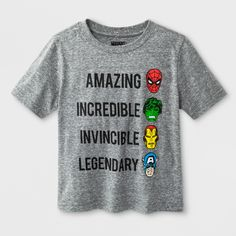 6167d78a Toddler Boys' Marvels We are Heroes Avengers Short Sleeve T - Shirt - Grey  12M