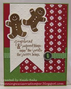 Sweet Gingerbread Friends by Cards and Paper Crafts Splitcoaststampers Christmas Paper Crafts, Homemade Christmas Cards, Christmas Cards To Make, Xmas Cards, Homemade Cards, Holiday Cards, Handmade Christmas, Christmas Ideas, Merry Christmas