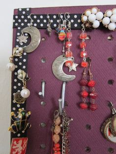 A detail shot of Annelise's pegboard. Closet Storage, Bedroom Storage, Storage Organization, Woman Bedroom, Storage Solutions, Drop Earrings, Personalized Items, Detail, Jewelry