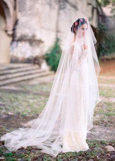 Inspirational Wilis (Giselle) Wedding Dress WITH BURGENDY FLOWER CROWN!!!!!