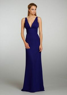 A-line Spaghetti Straps Floor Length / Long Royal Blue Chiffon Bridesmaid / Prom / Formal / Evening / Wedding Party Dresses 2301202