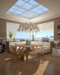 Roman shades in a modern dining room. The chandelier is fantastic too.
