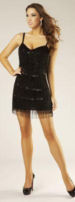 Black Beaded Fringe & Sequin Short Homecoming Dress