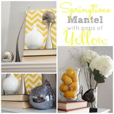 Springtime Mantel Decor with Pops of Yellow by Two Purple Couches