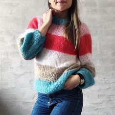 Chunky Sally Sweater - strikkeopskrift fra Mille Fryd Mohair Sweater, Kobe, Pullover, Knitting, Sweaters, Dreams, Design, Fashion, Outfits