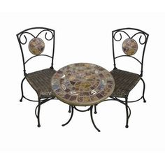Wildlife Enterprises Bistro Table and Two Chairs with Hand-Carved Fossil Trim
