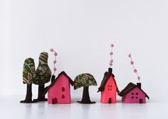 Miniature. Pink Felt houses with trees.Housewarming gift by Intres