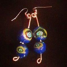 Royal Blue-Eyed Pea Polymer Earrings by CynderQuixotic on Etsy