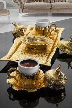 Beautiful Turkish coffee set http://www.turkishstylegroundcoffee.com/turkish-coffee-recipe/ #turkishcoffee #turkishcoffeerecipe