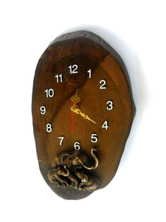 Natural Teak Wood Clock With Carving Resin by WoodCarvingArt
