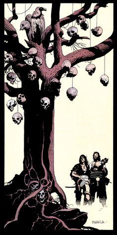 """Mike Mignola: Ilustración para la versión en cómic de """"Fafhrd and the Gray Mouser"""", basada en los relatos de Fritz Leiber"""