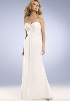 Graceful Crystals Pleated Empire Sweep Train Wedding Dress