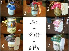 Gift idea for Christmas.  Soup in jar... cupcake in a jar.. cookies in a jar..!