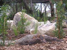 Bildergebnis für acreage landscaping with boulders Landscaping With Boulders, Acreage Landscaping, Small Yard Landscaping, Mailbox Landscaping, Landscaping Ideas, Backyard Ideas, Garden Ideas, Pool Ideas, Australian Garden Design