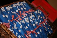 Patriotic rolled silverware - changing the theme of this for a birthday party would be great!!