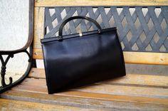 Vintage Faux Leather Handbag Black Purse Made by by vintagdesign