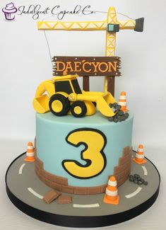 Digger cake...... Digger Birthday Cake, 2 Year Old Birthday Cake, Digger Cake, Boys 1st Birthday Cake, Birthday Treats, Baby Boy Cakes, Cakes For Boys, Excavator Cake, Truck Cakes