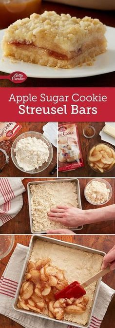 Fall flavors of apple and cinnamon come together in this easy-to-make sugar cookie crumble bar. The secret for cutting bars easily is to line pan with heavy-duty or nonstick foil. When it is time to cut bars, just lift baked bar with foil out of pan, and cut. This also makes cleanup extra easy.