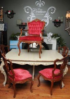 Stunning Table & Crimson Chairs