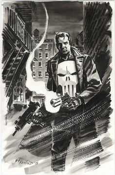 Quicker Punisher sketch done as warm-up recently for some other pieces. (Don't try and figure out that fire escape . Art by Bill Reinhold done in black india ink with crow quill and brush with adde...
