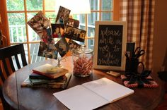 graduation party idea, chalkboard, photos