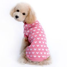 Christmas Autumn/winter Pink White Hearts Dog Sweaters Fashion Cute Dog Winter Clothes Acrylic Fibres Wedding Small Dog Clothing