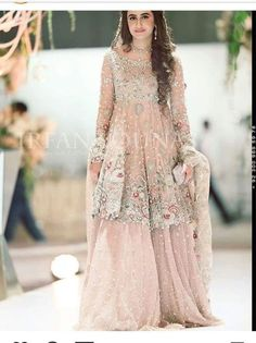 Pakistani Engagement Dresses For Brides In 2020 Pakistani Engagement Dresses, Indian Wedding Gowns, Pakistani Wedding Outfits, Pakistani Bridal Wear, Pakistani Wedding Dresses, Bridal Outfits, Bridal Lehenga, Pakistani Gharara, Gown Wedding