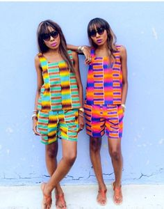 Danielle and Chantelle Dwomoh-Piper wear Kente cloth African Inspired Fashion, African Print Fashion, Africa Fashion, African Print Dresses, African Dress, African Prints, African Outfits, Kitenge, Ankara Dress Designs