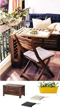 55 Super cool and breezy small balcony design ideas - Balkonien - Balcony Furniture Design Small Balcony Design, Tiny Balcony, Outdoor Balcony, Balcony Ideas, Ikea Outdoor, Small Balconies, Ikea Patio, Patio Ideas, Ikea Table