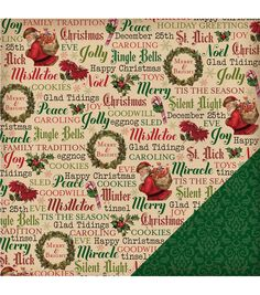 American Crafts Christmas Vintage Christmas Words Double-Sided Cardstock