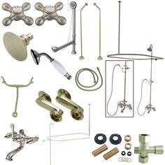 Kingston Brass Vintage Clawfoot Tub Wall Mount Package with Metal Cross Handles, Satin Nickel Clawfoot Tub Shower, Shower Faucet Sets, Shower Set, Bathroom Faucets, Vintage Tub, Shower Diverter, Faucet Handles, Kingston Brass, Shower Enclosure