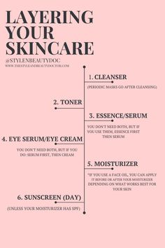 Can't figure out how to layer your skincare? In this post I'll go through the right order to apply your skincare products. Oily Skin Care, Healthy Skin Care, Anti Aging Skin Care, Dry Skin, Your Skin, Beauty Routine Checklist, Beauty Routines, Skincare Routine, Beauty Routine Products
