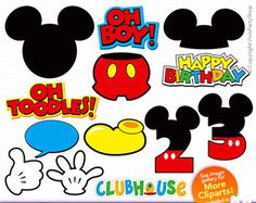 MICKEY Mouse Clipart, Printable, Instant download, PNG files, disney clipart, Oh Toodles, C#013