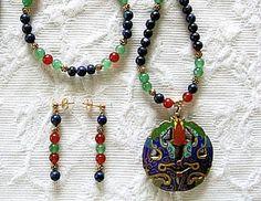 Rare Vintage Cloisonne Pendant Gemstone Statement by JewelrybyIshi, $145.00