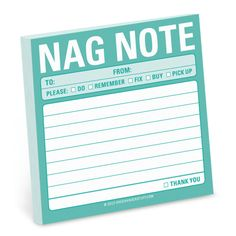 Knock Knock's Nag Note Sticky is a funny sticky note pad for honey to-dos. Find more funny gifts for guys, cool office items from Knock Knock stuff.