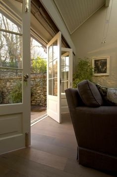 Interior french doors add a beautiful style and elegance to any room in your home. Entrance Decor, Front Door Entrance, Entry Doors, Front Doors, Porch Doors, Oak Doors, Interior Barn Doors, Exterior Doors, Orangerie Extension