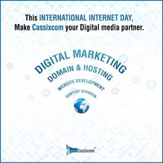 On this International Internet Day, drive your business online with Cassixcom's Digital marketing Services to be on top of your game. For more details, Email: Info@cassixcom.com Follow @cassixcom #Cassixcom #InternationalInternetDay #DigitalMarketing #DigitalMarketingAgency #MarketingAgency #OnlineMarketing #DigitalMarketingServices #Domain #Hosting #WebsiteDevelopment #ContentServices #DigitalMarketingTips #GrowYourBrand #India Digital Marketing Services, Online Marketing, Domain Hosting, Competitor Analysis, Digital Media, Online Business, Internet, India, Game